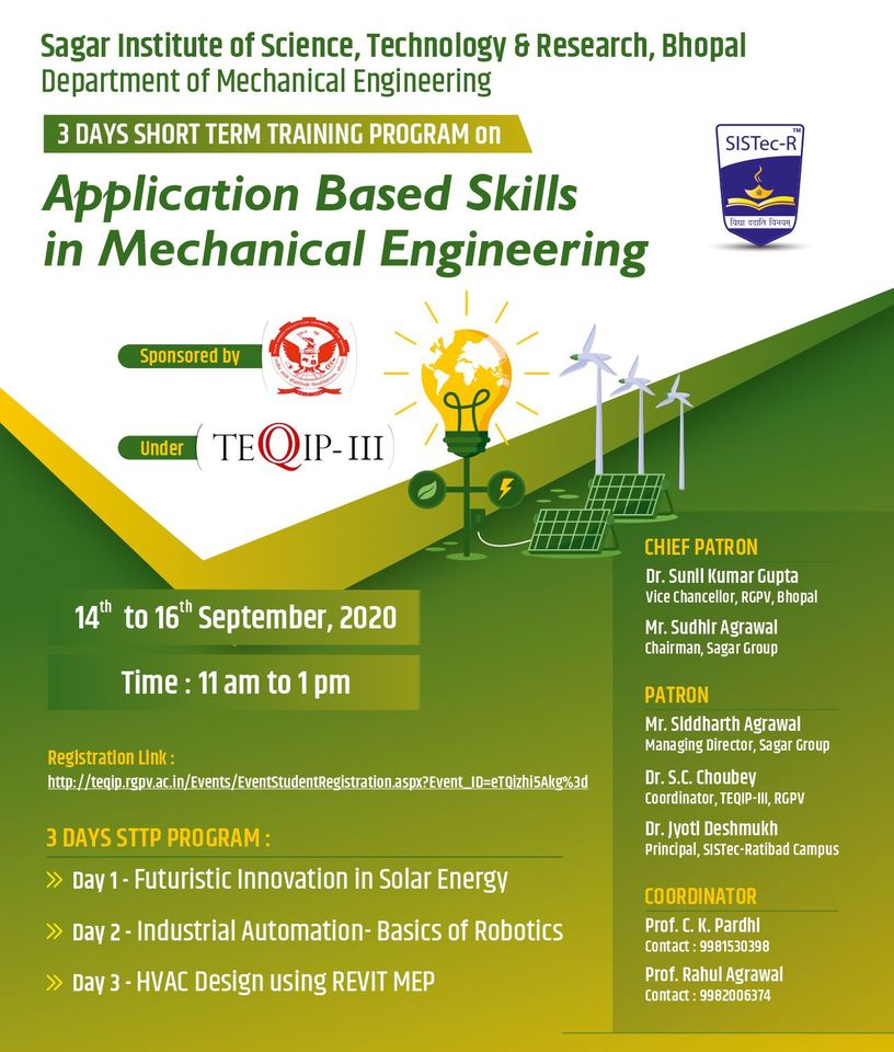 Short Term Training Program on Application Based Skills in Mechanical Engineering